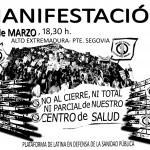 """Manifestación """"No al cierre total ni parcial del Centro de Salud Puerta del Ángel"""" 5 de marzo 18.30 h."""